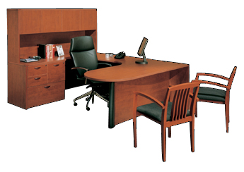 Cherryman U Desk Traditional office furniture, with bookcase and lateral files, desk hutch and more all the options.